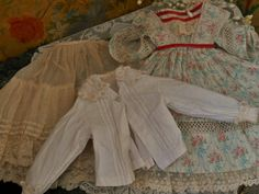Superb French enfantin style three piece poupee costume for on French Huret style doll about circa 16 ( 41 cm ) .... most hand sewn and in generally