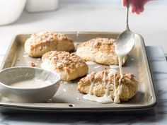 Lemon Streusel Scones - Bake from Scratch Quick Bread Recipes, Baking Recipes, Dessert Recipes, Desserts, Baking Tips, Streusel Topping, Glaze Recipe, Breakfast Bake, Sweet Tarts