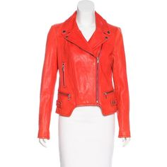 Pre-owned Andrew Marc Leather Moto Jacket (360 AUD) ❤ liked on Polyvore featuring outerwear, jackets, orange, orange jacket, leather moto jacket, red motorcycle jacket, rider leather jacket and red moto jacket