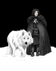 game of thrones: Jon Snow and Ghost by Jinzula