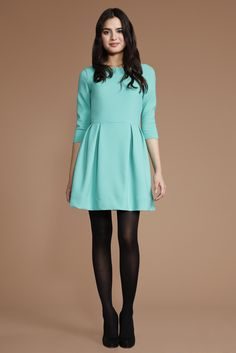 ba4bed55185dca Soshanna Leila teal Dress with black tights and heels. I d pick a different  dress color