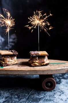 Chocolate Dipped Peanut Butter Espresso S'more (and SPARKLERS!)