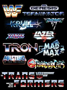These logos are all similar in their airbrushed fonts that resemble metallic lettering. The futuristic style from this decade is shown through the chrome style type. 80s Design, Vintage Design, Layout Design, 80s Logo, Retro Logos, Vaporwave, Logos Illustrator, Non Plus Ultra, Plakat Design