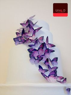 BUY 38 get 6 FREE - purple wedding cake decoration - edible butterflies cake toppers - lavender wedding cake by Uniqdots on Etsy by uniqdots on Etsy https://www.etsy.com/listing/189126527/buy-38-get-6-free-purple-wedding-cake