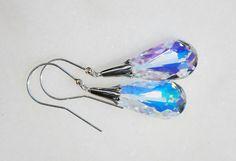Swarovski teardrop sterling silver earrings by KarmaKittyJewelry