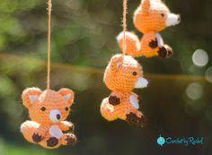 Five Foxes  Crochet Crib Mobile  custom by CrochetByRachelPerry