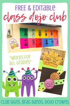 I've been using this Class Dojo Club in my classroom for years! I love it so much I wanted to share it with others.The Class Dojo Club product includes 13 page EDITABLE Class Dojo club signs or 13 premade reward signs,  brag bands, & Class Dojo crowns!