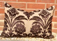 Designer Guild OMBRIONE DAMASK Cut VELVET on Linen, Chocolate 16x24 or 40x60cm Rectangle Lumber Cushion Cover / Pillow Sham    This cut velvet