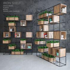 Iron shelf – Home Decoration Iron Furniture, Home Furniture, Furniture Design, Regal Design, Iron Shelf, Shelf Design, Office Interiors, Plank, Shelving