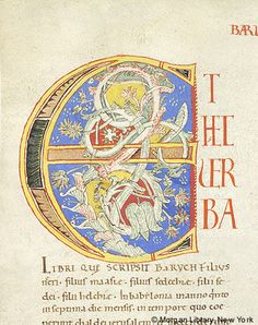 Foliate ornament within decorated initial E | Bible Italy, Bobbio | 1100-1125 | The Morgan Library & Museum
