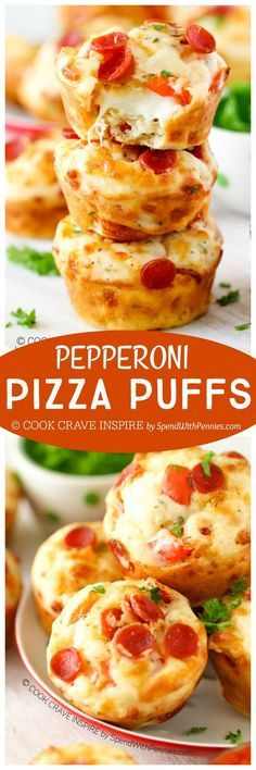 The perfect snack or lunch Easy Cheesy Pepperoni Pizza Puffs! The perfect snack or lunch box addition! Add your favorite toppings to make these your own! Snacks Für Party, Lunch Snacks, Appetizers For Party, Pizza Snacks, Pizza Appetizers, Box Lunches, Keto Snacks, Fingerfood Recipes, Appetizer Recipes