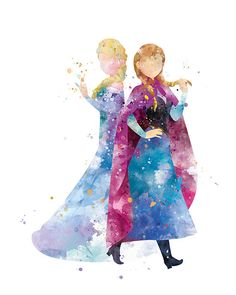 Anna Elsa Print Watercolor Princess Disney Anna Queen Elsa