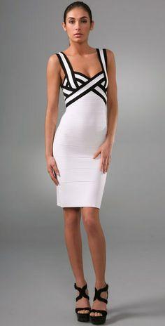Herve Leger Colorblock V Neck Cocktail Dress White Black White Bandage Dress, White Dress, White Feather Skirt, V Neck Cocktail Dress, Cocktail Dresses, Seersucker Dress, White Shoulders, Herve Leger Dress, Cheap Dresses