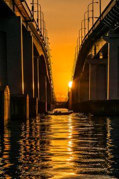 The sun rises on a fish boat, Lake Biwa, Otsu, Shiga, Japan
