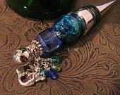 Wine Bottle Stopper  Mermaid Themed Blue & Green Beaded