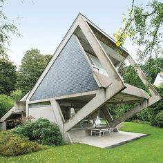 An angular Versailles house by Claude Parent eschews traditional notions of walls, floors, and ceilings, epitomizing the late architect's legacy. : Christian Schaulin. #architecture #interiors #design #interiordesign #house #versailles