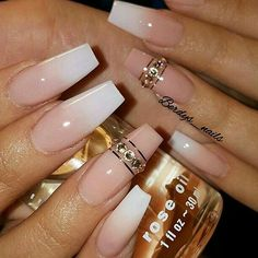 Wow these are really pretty! Nail art | American Manicure | nude nails | coffin nails | @AliyaMadani