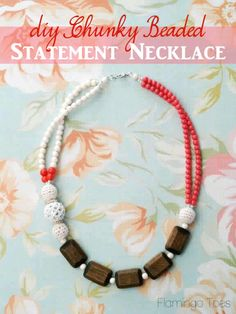 DIY Chunky Beaded Statement Necklace Tutorial from Flamingo Toes Chunky Bead Necklaces, Beaded Statement Necklace, Diy Necklace, Gemstone Jewelry, Beaded Jewelry, Jewellery Diy, Jewelry Design, Jewelry Making, Handmade Necklaces