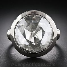 Large Rose-Cut Diamond Ring. If this sparkling geodesic-cut gem were a modern brilliant-cut diamond, at 9/16 inch across it would clock in at about 12 carats! As it stands, however, it measures about 3.00 carats. This huge and hypnotic diamond is bezel set in a traditional closed foil-back setting.