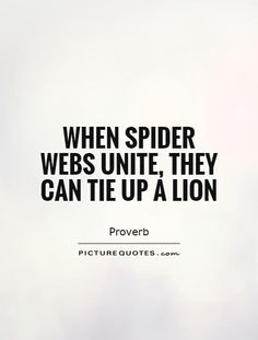 When spider webs unite, they can tie up a lion. Picture Quotes.
