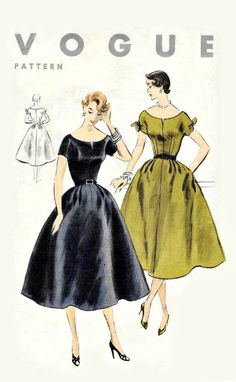 Vintage Vogue Dress Sewing Pattern - Uncut, Unmarked, Easy to Sew 1953 Vogue Size Bust - One piece dress - Fit and Flair 50s Vintage, Vintage Vogue, Vintage Sewing, Vintage Patterns, Sewing Patterns, Short Kimono, One Piece Dress, Japanese Kimono, Kimono Fashion