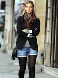 Love jean shorts and tights for fall