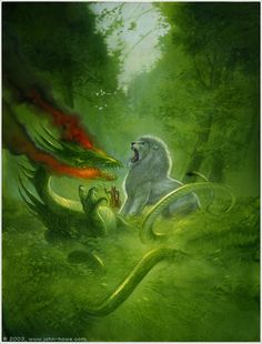 John Howe The Knight With the Lion / Yvain Rescues the Lion