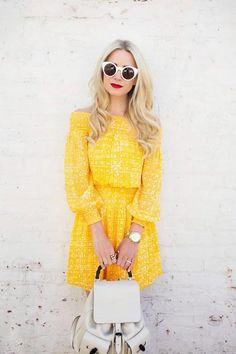 Amazing Ways to Wear Statement Sunglasses - white sunglasses + a yellow summer dress