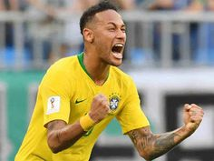 Brazil beat Mexico 2-0 on 02/07/2018. Neymar celebrates at the end of the World Cup match against Mexico. (AFP Photo)