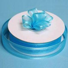 "25 Yard 7/8"" DIY Turquoise Organza Ribbon With Satin Edges For Craft Dress Wedding"