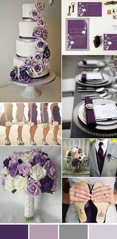 Purple Wedding Flowers elegant purple and gray wedding colors Elegant Wedding Colors, Grey Wedding Theme, Gray Wedding Colors, Wedding Color Schemes, Fall Wedding, Wedding Flowers, Dream Wedding, Trendy Wedding, Wedding Ideas Purple