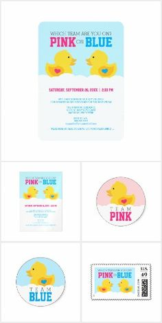 Rubber Duck Gender Reveal Invitation Suite