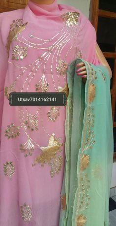 Kurta # Duppta # Gota @Whatsapp 7014162141 Designer Punjabi Suits Patiala, Punjabi Suits Designer Boutique, Boutique Suits, Indian Designer Suits, Patiala Salwar, Salwar Suits, Anarkali, Embroidery Suits Punjabi, Hand Embroidery Dress