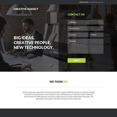creative web design agency responsive landing page Web Design Agency, Web Design Company, Best Landing Page Design, Creative Web Design, Creative People, New Technology, Messages, Words, Business