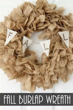 Make a fall burlap wreath with this simple technique! #ad #handmadewithjoann