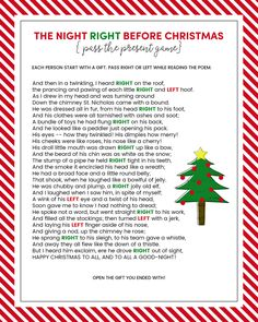 Adaptable image pertaining to christmas left right game printable