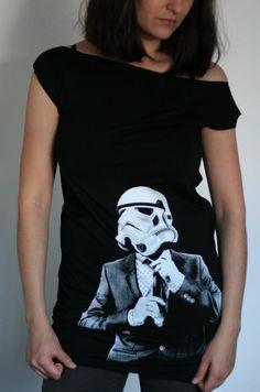 Smart Trooper - American Apparel T Dress ( Star Wars / Stormtrooper Dress ). $25.00, via Etsy.