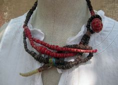 RESERVED  - Scarlet - Wrapped Textile Fiber Necklace - Handmade - Art To Wear Upcycled - Recycled