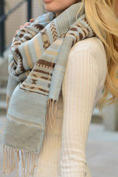 Cheyenne Powder Blue Women's Boutique Blanket Scarf with Tassels | Cali Boutique| FREE shipping to the U.S.