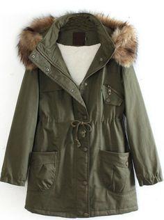 Sheinside Army Green Detachable Fur T... $21.99 #bestseller
