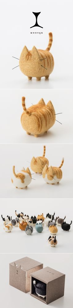 I could get one that looks like my cat(s) and they've got dogs as well. Great gift idea woonya/ 猫/cat/羊毛フェルト/Needle/Felting/mascot/doll/home/style/products/art/design Needle Felted Animals, Felt Animals, Yarn Crafts, Diy And Crafts, Doll Home, Needle Felting Tutorials, Felt Cat, Felt Toys, Wet Felting