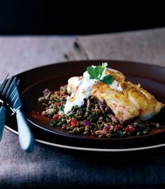 Roast cod on spiced Puy lentils. The mildly spiced roast cod makes a sophisticated but easy dinner party dish. The cumin-and-chilli infused lentils work beautifully as an accompaniment. Fish Recipes, Seafood Recipes, Cooking Recipes, Healthy Recipes, Uk Recipes, Tapas Recipes, Picnic Recipes, Picnic Ideas, Kitchen