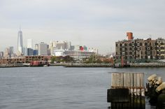 The view from Brooklyn--the Queen Mary was in port.