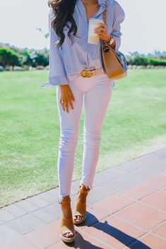 BP Tunic, DL1961 denim, treasure and bond wedges, Gucci belt, Chanel bag, Michele Watch, ettika necklace, ray ban glasses, Casual Outfit, Office Outfit, Easy Outfit, Emily Gemma Instagram, Casual Summer Outfit, Casual Spring Outfit, Fashion Style, Emily G