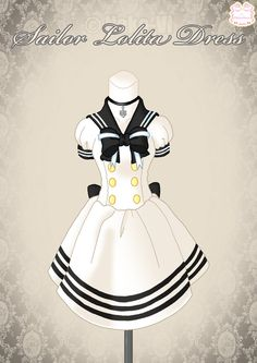 Sailor Lolita Dress by Neko-Vi on DeviantArt Anime Outfits, Cute Outfits, Fashion Outfits, Clothing Sketches, Fashion Sketches, Looks Kawaii, Lolita Mode, Anime Dress, Drawing Clothes