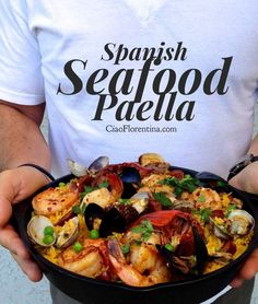 Spanish Seafood Paella Recipe with Shrimp, Lobster Tails, Clams and Mussels | CiaoFlorentina.com @CiaoFlorentina