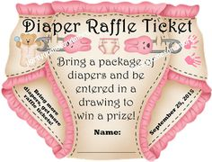 25 Unique Personalized Baby Shower Party Favor Diaper Invitation Raffle Tickets 2, Cut to Shape of Diaper. Blue, Pink, Green or Yellow via Etsy