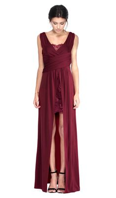 Alice by Temperley Burgundy Lace Long Dress | Chic by Choice | Hire Designer Dresses and Ball Gowns
