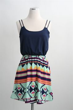 Mayan Mahem Dress- Navy
