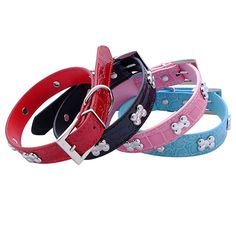 New arrival! Small Pet Dog Bone Buckle Faux Leather Collar Cat Studded Neck Strap Dogs Collar #Affiliate